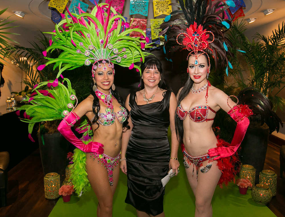 Hosts, hostesses, samba dancers