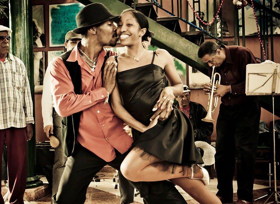 Salsa dancing couple