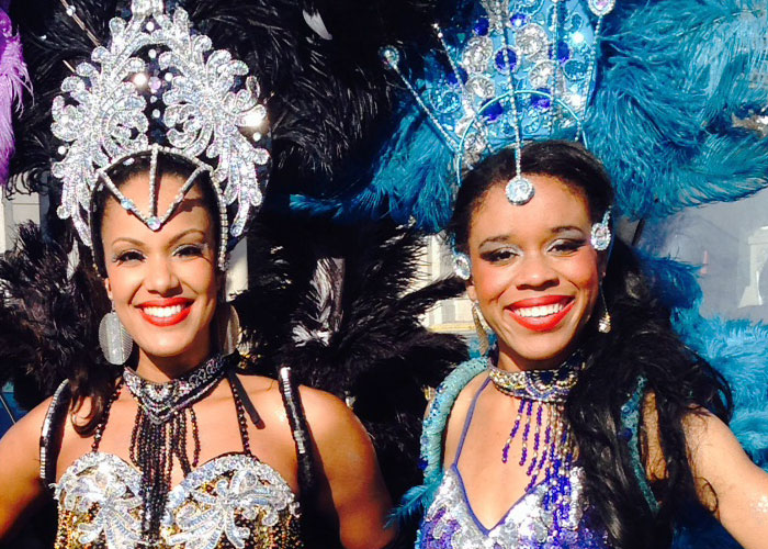 Toronto samba dancers in conservative costumes